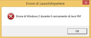 Errore di Windows 2 durante il caricamento di Java VM